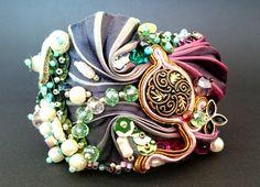 Bransoletka shibori, jedwab, szkło, koraliki, perły, cekiny