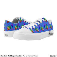#Meerkats And Logo, #Blue Zipz Printed #Sneakers. Printed Shoes
