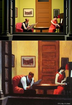 If It's Hip, It's Here (Archives): 13 Edward Hopper Paintings Are Recreated As Sets For Indie Film 'Shirley - Visions of Reality. Shirley Visions Of Reality, Edward Hopper Paintings, American Realism, Getty Museum, Painters, Les Oeuvres, Game Art, New Art, Art History