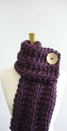 Dusty Purple Chunky Knit Cowl Scarf with by LaurasLovelyKnits, $39.00