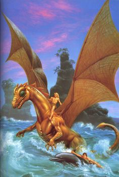 Pern Museum Art Gallery - Official Cover Art - Rowena Morrill - The Dolphins of Pern by Anne McCaffrey