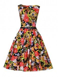 Floral Printed Vintage Brilliant Round Neck Skater-dress