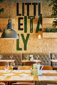 Maya bakery Printed wood chip board interior in Little Italy, Liverpool. Design and graphics by Stride Studio. Shed Interior, Cafe Interior, Interior Design, Cafe Design, Store Design, Restaurant Design, Restaurant Bar, Chipboard Interior, Osb Wood