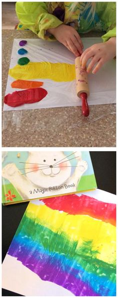 Rolling pin rainbow painting craft for kids to make! So fun