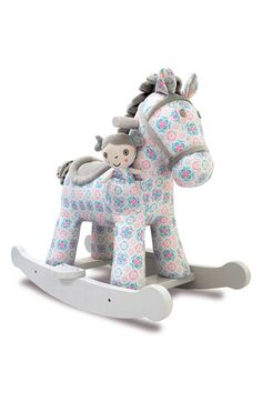 Little Bird Told Me Rosie & Mae Rocking Horse Stuffed Animal Ride On - Rocking Horse Boutique Childrens Rocking Horse, Rocking Horses, Ride On Toys, Horse Love, Floral Fabric, Vintage Prints, Baby Toys, Toddler Toys, Toddler Girls