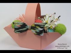 "Make an Easter basket with  the Envelope Punch Board ~ how-to video by Diane Dimich. 8 x 8"" paper, score at 2 inches on both sides."