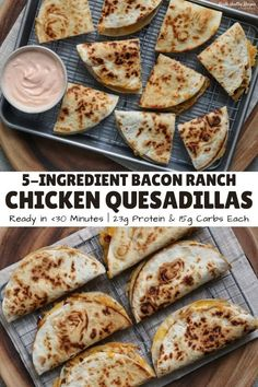 Bacon Ranch Ground Chicken Quesadillas A simple recipe for extra cheesy, golden brown quesadillas filled with ground chicken, crispy bacon, ranch seasoning, and a surplus of cheddar cheese. Mexican Food Recipes, New Recipes, Cooking Recipes, Favorite Recipes, Amazing Food Recipes, Carrot Recipes, Fudge Recipes, Potato Recipes, Dessert Recipes