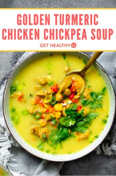 If you're looking for a new, go-to healthy winter soup, look no further. This tasty, healing winter recipe for Golden Turmeric Chickpea Chicken Soup is healthy, packed with protein and is FULL of flavor! You can easily make this recipe vegetarian by subbing in an extra can of chickpeas in place of the chicken, and it is totally delicious! It's sweet, it's spicy, and it's totally addicting!
