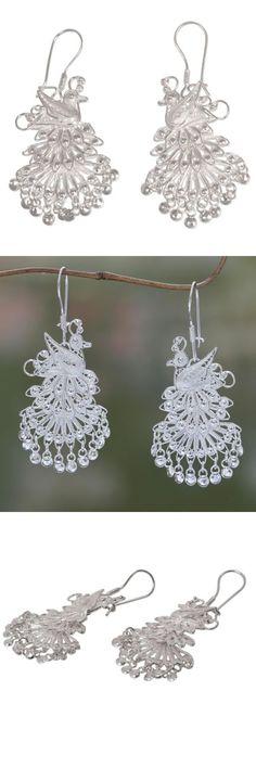 Earrings 110645: Sterling Silver Earrings 925 Filigree Chandelier Royal Peacock Novica Bali -> BUY IT NOW ONLY: $48.49 on eBay!
