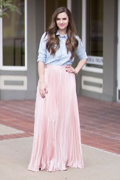 Blush pleated maxi skirt and chambray shirt #springstyle