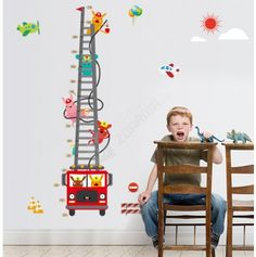 Mural Art DIY Children Grows up Height Measurement Growth Chart Measures Cartoon Fire Truck and Fireman Removable Wall Stickers Decals for Children Bedroom Nursery Playroom Stickers 3d, Removable Wall Stickers, Wall Stickers Murals, Wall Decals, Truck Stickers, Wall Art, Poster Decorations, Rooms Home Decor, Bedroom Decor