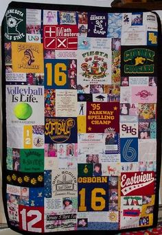 quilts made out of your old t-shirts... the best way to keep memories with you & stay warm~ I have always wanted to do this and have SAVED t-shirts since teenage years to do this! Should be interesting! LOL!