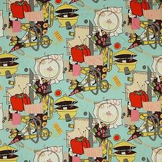 Alexander-Henry-Sew-Retro-Turquoise-Blue-Sewing-Room-Novelty-Fabric-by-the-Yard