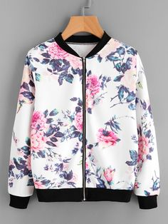 Shop Floral Print Contrast Trim Zip Up Jacket online. SheIn offers Floral Print Contrast Trim Zip Up Jacket & more to fit your fashionable needs. Girls Fashion Clothes, Teen Fashion Outfits, Trendy Outfits, Girl Fashion, Girl Outfits, Fashion Dresses, Fashion Black, Fashion Ideas, Jugend Mode Outfits
