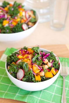 Rainbow Kale Salad with Miso Tahini Dressing - Eat Spin Run Repeat