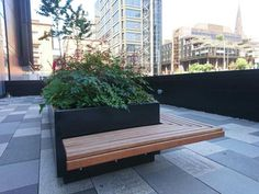 Ref 3202 Custom shrub planters with seating for Glasgow office sundeck #planter #blueton #streetfurniture #seat #urbandesign #urbanfurniture