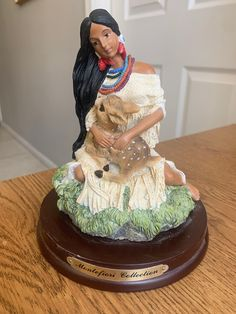 Vtg Native Girl with Baby Deer Resin Figurine Wood Base Montefiori Collection