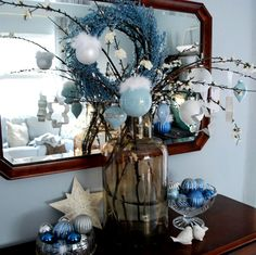 Gorgeous colours! Visit site for many handmade decorations. Light blue paint inside a clear ornament adorned with sparkly words.