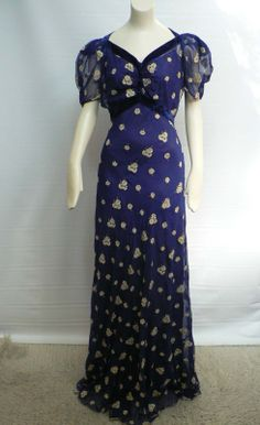 Vintage 1930s Blue Silk Chiffon Floral Print Gown 30s Dinner Dress Art Deco | eBay(285)