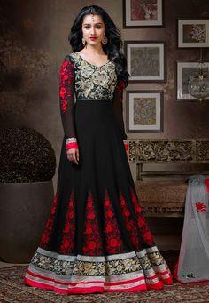 #Black Faux #Georgette Abaya Style Churidar Kameez  Item Code: KCR6081   Price: $174.01
