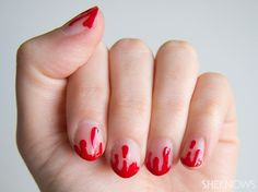 Sophisticated Halloween nails: Bloody drip