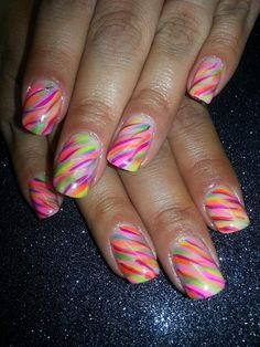 Neon Stripes - Nail Art Gallery