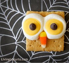 Owl snacks - the marshmallows poofed up fast in the microwave, but it melted the yellow wafer perfectly into it.