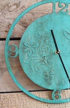 часы настенные бирюза - бирюзовый,голубой,морской,цветы,голубые цветы