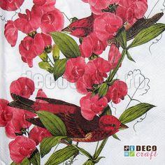 Servetele cu flori : Servetele - Purple Finch - 33x33cm, 4 buc