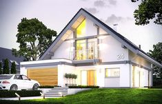 """Open 4 is the latest model with a series of projects """"Open"""". House is designed for a family of four to five people. A rectangular block of house is covered by a gable roof with a slope of 40 degrees hides the interior consisting of ground floor and usable Mountain House Plans, Gable Roof, Design Case, Ground Floor, Home Interior Design, Architecture Design, Shed, Outdoor Structures, House Design"""