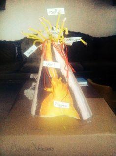 Volcan. En una caja reciclada como base, hizo un cono con cartulina, le ayude a pegarlo a la caja con silicon. Le dibuje una rayas desiguales para simular las capas y ella pintó todo. Escribió los nombres de las partes del volcan y con Q-tips le ayude a pegarlos con silicon. A los limpia pipas amarillos les enterró unos chachitos para simular las rocas (cereal de arroz inflado) en la boca del volcan. Algodon simula los gases. Estambre rojo simula la lava.