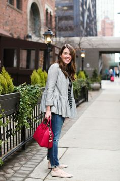 A casual look for a a weekend of fun activities in Chicago! A striped tee and a peplum jacket for a warm winter day.