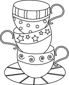 Teacup Stack - this could be modified to make a embroidery pattern for a tea towel etc., love this whimsical graphic picture. Description from pinterest.com. I searched for this on bing.com/images