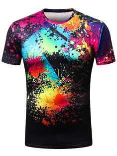 3D Colorized Oil Paint Print Casual T-shirt - Multi - 3L73255015 - Men's Clothing, Men's Tops & T-Shirts, Men's T-Shirts #MensTShirts #Men's #Clothing # #Men's #Tops #& #TShirts # #Men's #TShirts