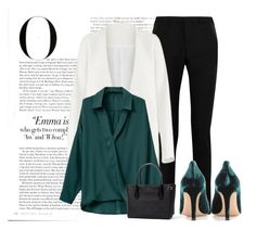 """You're great."" by krys-imvu on Polyvore featuring Yves Saint Laurent, Non, Gianvito Rossi, Vanity Fair, white, Pumps, GREEN, teal and top"