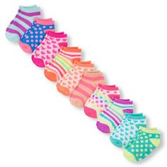 Baby Girls Toddler Mixed Print Ankle Socks 10-Pack - Multi - The Children's Place