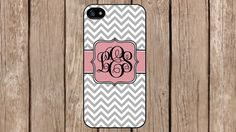 Personalized Monogram Chevron Grey Pink Pattern for iPhone 4/4s/5/5s/5c Samsung Galaxy S3/S4/S5/Note 2/Note 3 by TopCraftCase, $6.99