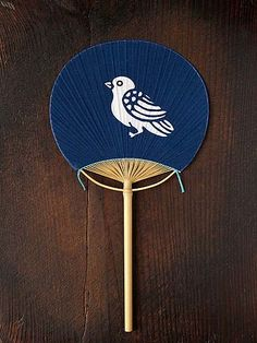 Japanese paper fan, Uchiwa 団扇 -brown-blue-white-pale ochre colour combination