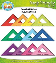 FREE Triangle Rulers / Protractors Clipart — Over 12 Graphics! Math Clipart, Irrational Numbers, Protractor, Teaching Math, Maths, Ruler, Geometric Shapes, Mathematics