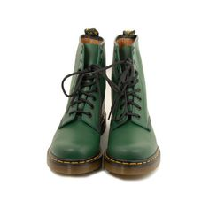 DR. MARTENS Smooth shoes (175 AUD) ❤ liked on Polyvore featuring shoes, boots, ankle booties, green, dr. martens, women, lace-up ankle booties, lace front boots, lace up rubber boots and lace up booties