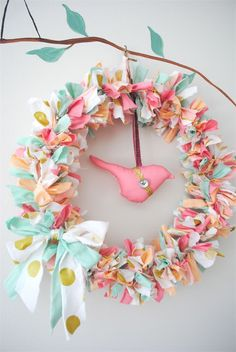 mint coral peach bird fabric | Gold Peach & Pink Whimsical Bird Wreath - baby, mobile, coral, gift ...