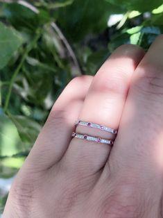 IGI Certified 0.15 Carat Baguette Cut Diamond Bar Set Half Eternity Wedding Ring