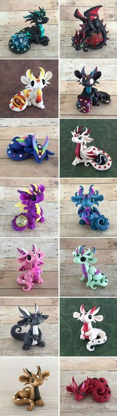 """""""Roll The Dice Dragons"""" Made Out Of Polymer Clay DragonsAndBeasties"""