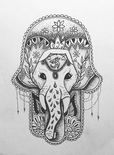 hamsa and an elephant tattoo sketch Et Tattoo, Piercing Tattoo, Hasma Tattoo, Mehndi Tattoo, Future Tattoos, Love Tattoos, Elefante Tattoo, Tattoo Gallery, Tattoo Designs