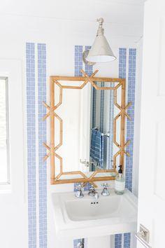 Pool House Bathroom, Master Bathroom, Bamboo Mirror, Charleston Homes, Home Wallpaper, Wallpaper Ideas, White Cottage, White Houses, Traditional House