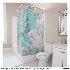 Vintage Paris-Eiffeltower- Flowers Bicycle Shower Curtain Vintage Paris-Eiffeltower- Flowers Bicycle Shower Curtain Cute vintage pattern made of old bicycles framed with roses and flowers in front of the Eiffeltower in Paris.Beautiful aqua turquoise background. A beautiful and chic design. It is the perfect gift for her, for the stylish lady, perfect for her birthday, sweet sixteen favor, bridal shower, perfect summer gift for her, the girly girly and modern fashionista or any occasion…