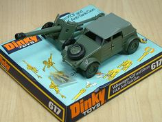 Dinky Toy, German Army Volkswagen KDF & 50mm PAK Anti-Tank Gun. Featured a working gun, able to fire small plastic shells via a spring release. This diecast model was produced between 1976 and 1977.