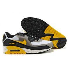 Mens Cheap Nike Air Max 90 Trainers White/Black/Yellow