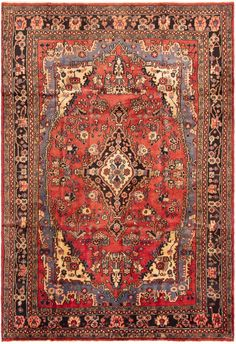 Persian Hamadan x Hand-knotted Wool Red Rug Red Rugs, Persian, Bohemian Rug, Wool, Home Decor, Red Carpets, Decoration Home, Room Decor, Persian People