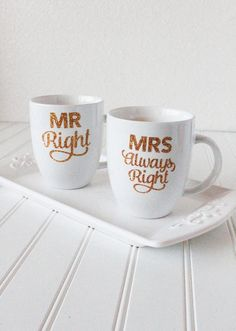 DIY Mugs for Mr. Right and Mrs. Always Right